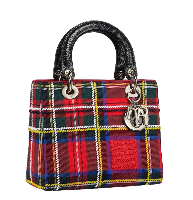 Christian-Dior-Lady-Dior-bag-in-red-embroidered-tartan