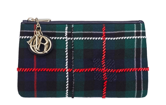 Christian-Dior-Lady-Dior-blue-tartan-zipped-pouch