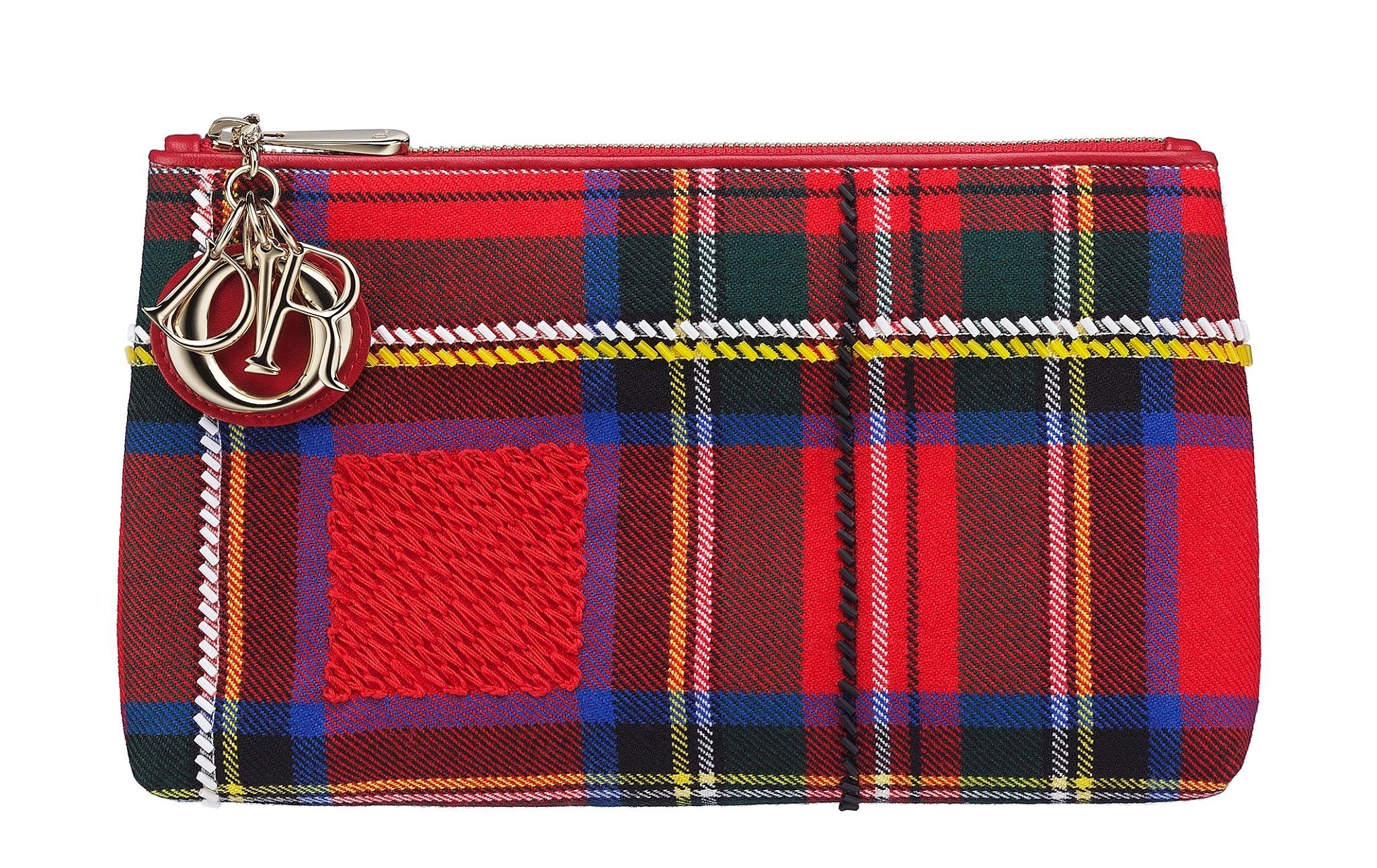 Christian-Dior-Lady-Dior-red-tartan-zipped-pouch