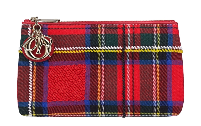 Christian-Dior-Lady-Dior-red-tartan-zipped-pouch