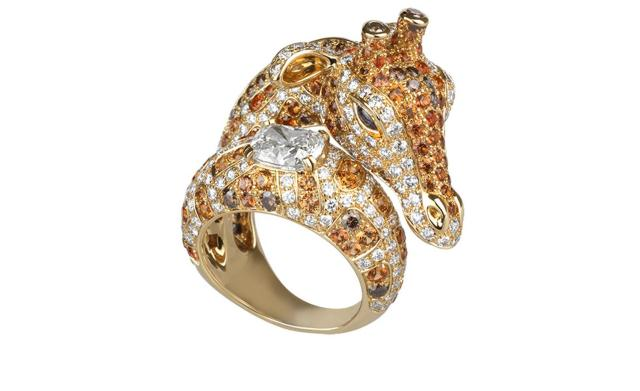 BOUCHERON. Giraffe ring. Yellow gold with white, brown and orange diamonds, orange and blue sapphires. Price from £48,100