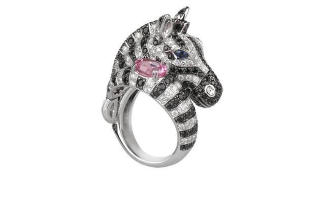 BOUCHERON. Zebra ring. Pink sapphire, black and blue sapphires and white diamonds. Price from £27,600..jpg