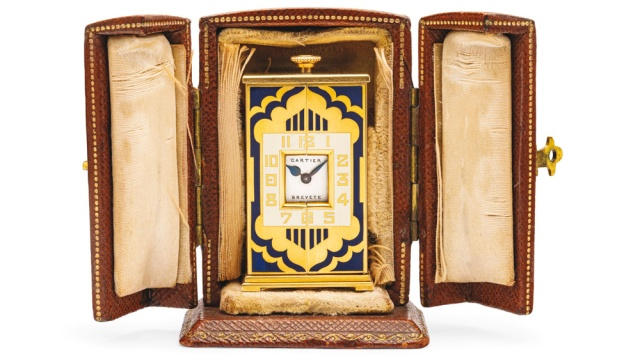 Christies-Geneva-Cartier-Art-Deco-Enamel-and-Gold-Altar-Clock