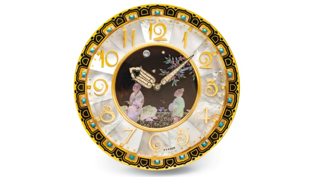 Christies-Geneva-Cartier-Art-Deco-Mother-of-Pearl-Enamel-Turquoise-Moonstone-and-Diamond-Clock-by-Maurice-Coüet