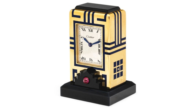 Christies-Geneva-Cartier-Art-Deco-Onyx-Enamel-and-Ruby-Mignonettte-Clock