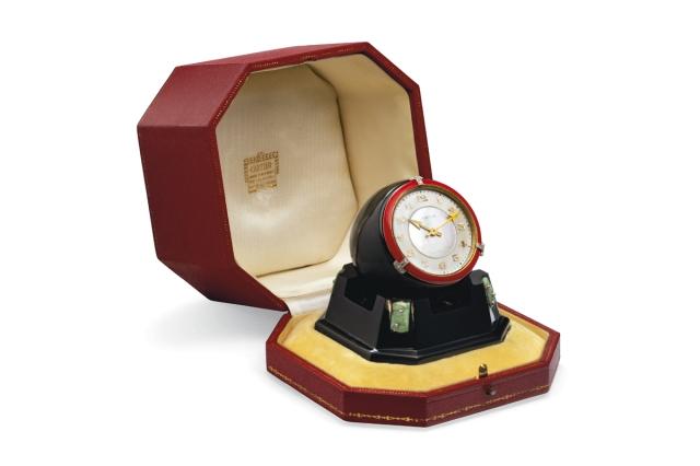 Christies-Geneve-Art-Deco-Mother-Of-Pearl-Onyx-Jade,-And-Enamel-Desk-Clock